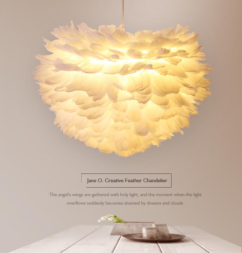 Подвесной светильник в скандинавском стиле с перьями светодиодные