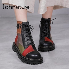 Women Boots Johnature Ankle Flat Winter Genuine-Leather Zip with Round-Toe Mixed-Colors