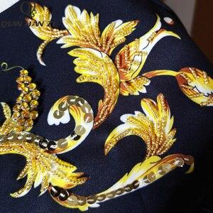 Image 4 - Qian Han Zi 2019 designer mode automne robe femmes 3/4 Vintage fleur imprimer paillettes perlé lâche robe
