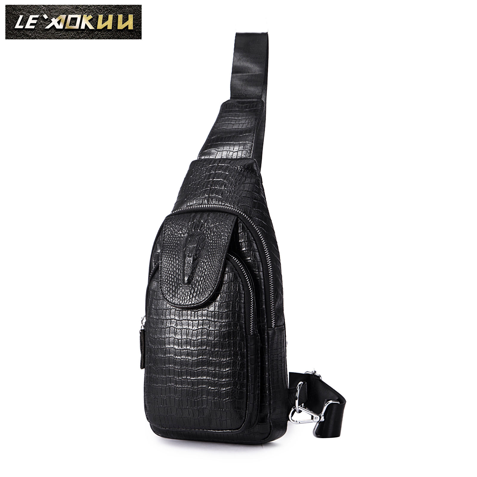 Men Genuine Real Leather Casual Fashion Triangle Crossbody Chest Sling Bag Design Travel One Shoulder Bag 8