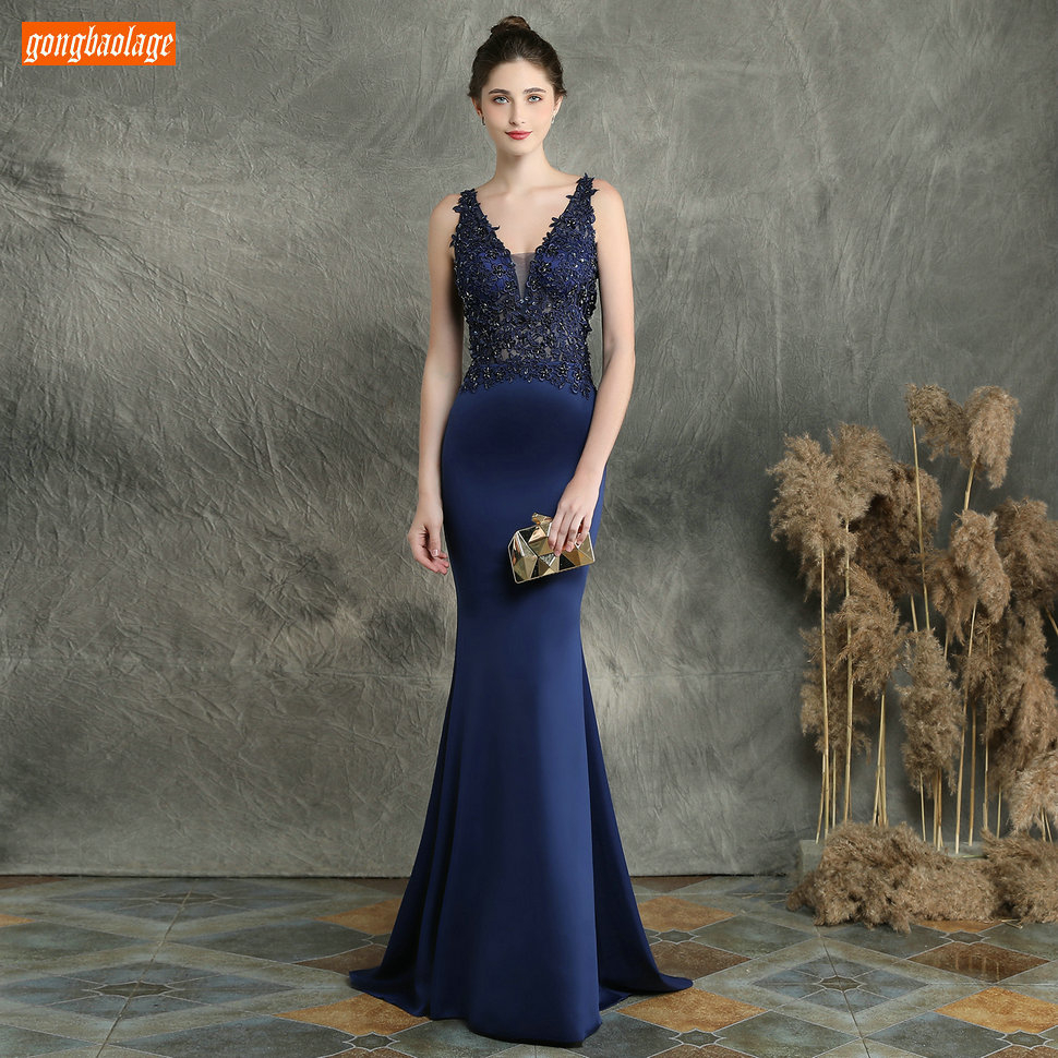 Sexy Dark Navy Long Evening Dresses V Neck Lace Appliqued Beaded Mermaid Formal Dress Women Party Slim fit Pageant Evening Gowns