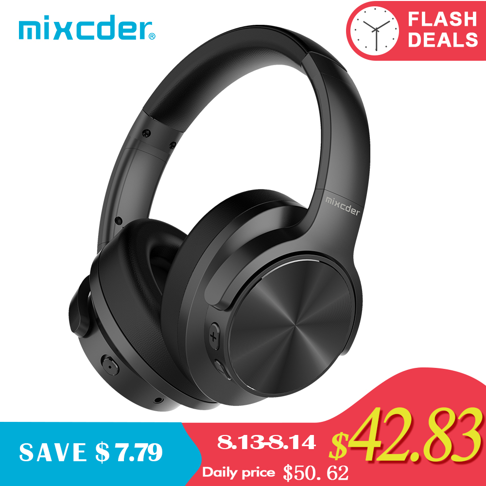 Mixcder E9 Active Noise Cancelling Wireless Bluetooth Headphones 30 hours Playtime Bluetooth Headset with Super HiFi Deep Bass armband for iphone 6