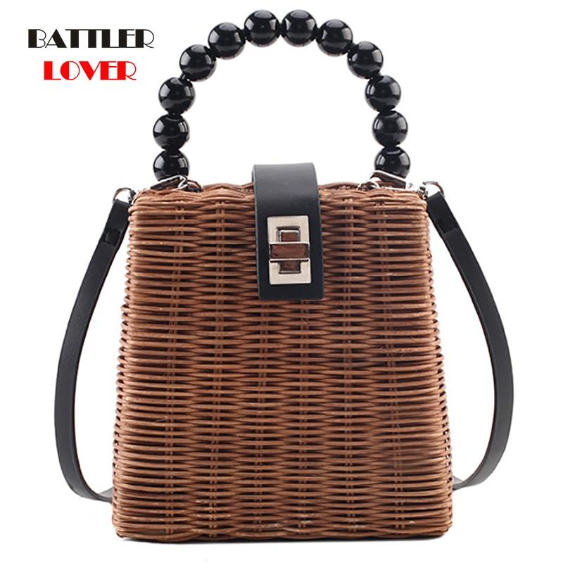 Box Design Beading Handle Ladies Wood Bucket Bag Chain Shoulder Bag Women