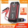 UTRAI 24000mAh 2500A Auto Starthilfe 10W drahtlose ladegerät Auto Batterie Power Bank mit LCD Bildschirm LED Taschenlampe sicherheit Hammer