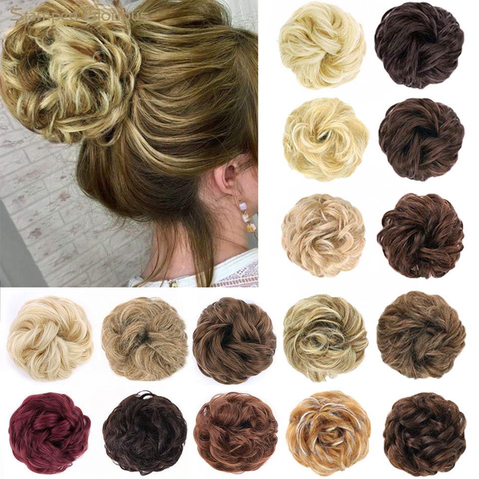 Stamped Glorious Women's Thick 1PCS Hair Scrunchies Made Of Hair Curly Wavy Updo Hair Bun Extensions Messy Hairpieces