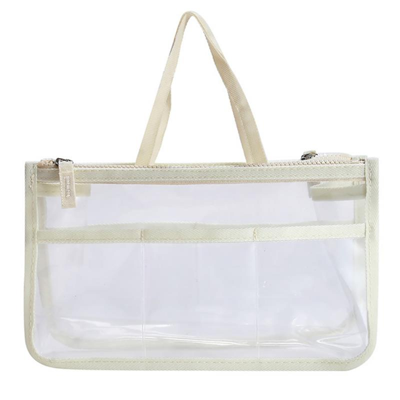 Transparent Waterproof Makeup Bags Large Capacity Double Zipper Cosmetic Bag Toiletry Bag With Handle For Travel