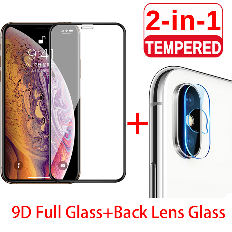 2in1 9D HD Black Protective Glass for iPhone 7 8 6 6S Plus Camera Screen Protector for iPhone X XR XS Max Glass on iphone 11 Pro image