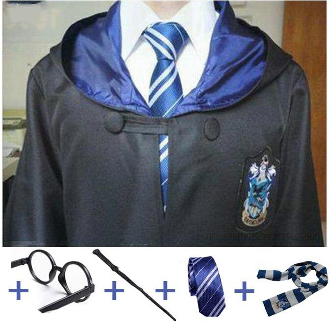 Elbise pelerin pelerin ile kravat eşarp değnek gözlük kostüm çocuklar yetişkin Potter Cosplay