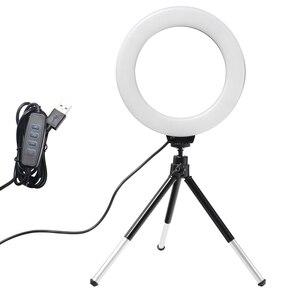 Image 1 - 6 אינץ מיני LED שולחן עבודה וידאו טבעת אור Selfie מנורת עם חצובה סטנד USB תקע עבור YouTube לחיות תמונה צילום סטודיו