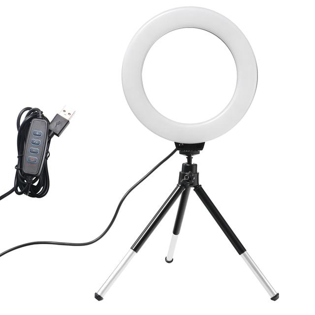 6 אינץ מיני LED שולחן עבודה וידאו טבעת אור Selfie מנורת עם חצובה סטנד USB תקע עבור YouTube לחיות תמונה צילום סטודיו