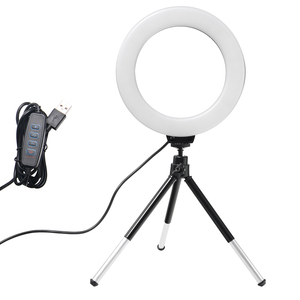 Image 1 - 6 インチミニ led デスクトップビデオリングライト selfie ランプ三脚スタンド usb プラグ youtube ライブ写真スタジオ