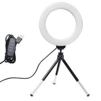 Mini anillo de luz LED de escritorio de 6 pulgadas para Selfie lámpara con soporte de trípode enchufe USB para YouTube Live Photo Photography Studio