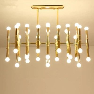 Rectangular Suspension Lamp Post Modern Plate Chrome Gold Led Chandelier Bamboo Shape Pipe Hanging Chandelier