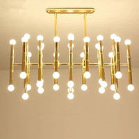 Rectangular Suspension Lamp Post Modern Plate Chrome Gold Led Chandelier Bamboo Shape Pipe Hanging Chandelier