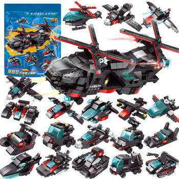 City SWAT CH-47 Helicopter Chinook Air Force Team Truck Car Police Playmobil Bricks DIY Creator Building Blocks Kits Kids Toys 646pcs city police swat command coast guard helicopter building blocks brinquedos creator brinquedos bricks toys for children
