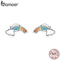 BAMOER 2019 nouveau authentique 925 en argent Sterling coloré arc-en-ciel et nuage boucles d'oreilles pour les femmes coréen oreille bijoux SCE500
