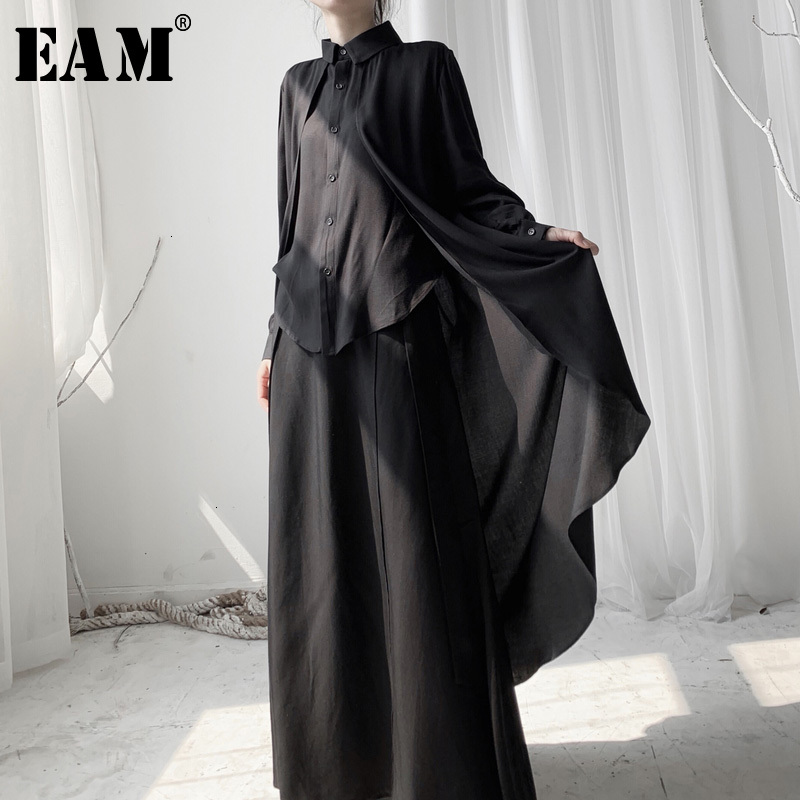 [EAM] Women Black Back Long Big Size Blouse New Lapel Long Sleeve Loose Fit Shirt Fashion Tide Spring Autumn 2020 19A-a564