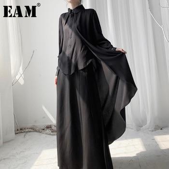 [EAM] Women Black Back Long Big Size Blouse New Lapel Long Sleeve Loose Fit Shirt Fashion Tide Spring Autumn 2020 19A-a564