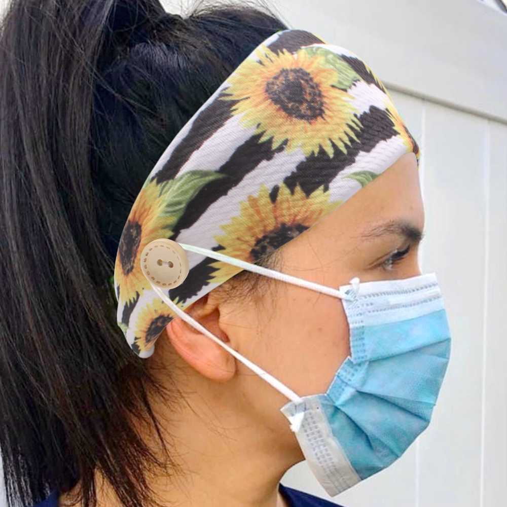 נשים גבר כפתור סרט עם כפתורים 2020 Fashion Facemask מחזיק אחות סרטי ראש להגן על אוזני ספורט שיער אבזרים סיטונאי
