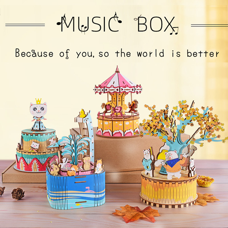 4 Toy Gifts For Children Adult By Carousel Cat Princess Deep Autumn Carnival Pool Party Wooden Jigsaw Combinator Music Box