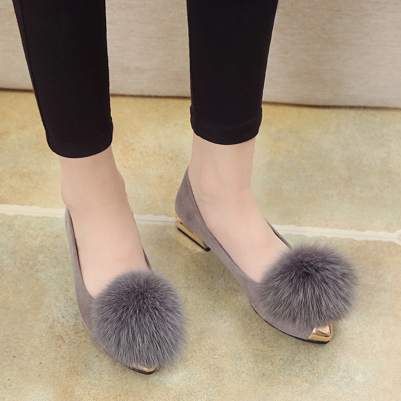 Pointed Toe Fashion Women Fluffy Fur Loafer Flock Metal Decoration Autumm Winter Flats Shoes Solid  Slip on Shoes for Women