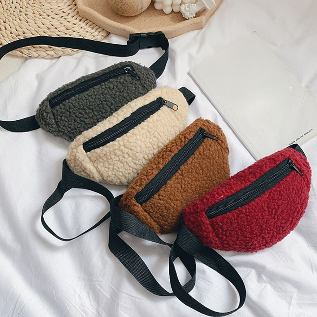 2019 Winter Children's Money Bag Fashion Trend Solid Color Waist Belt Bag Cute Pattern Wool Chest Bag Pocket Coin Purse Sac #C10