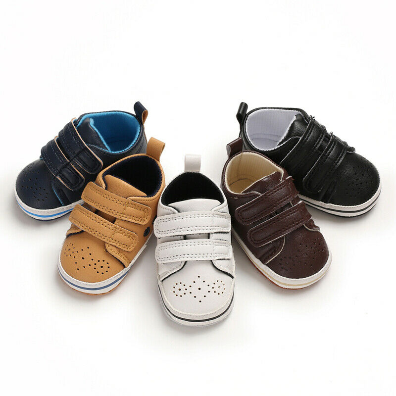 Pudcoco Toddler Baby Boys Girls Artificial Leather Crib Shoes Rubber Sole Sneaker Shoes Non-slip Breathable Baby First Walkers