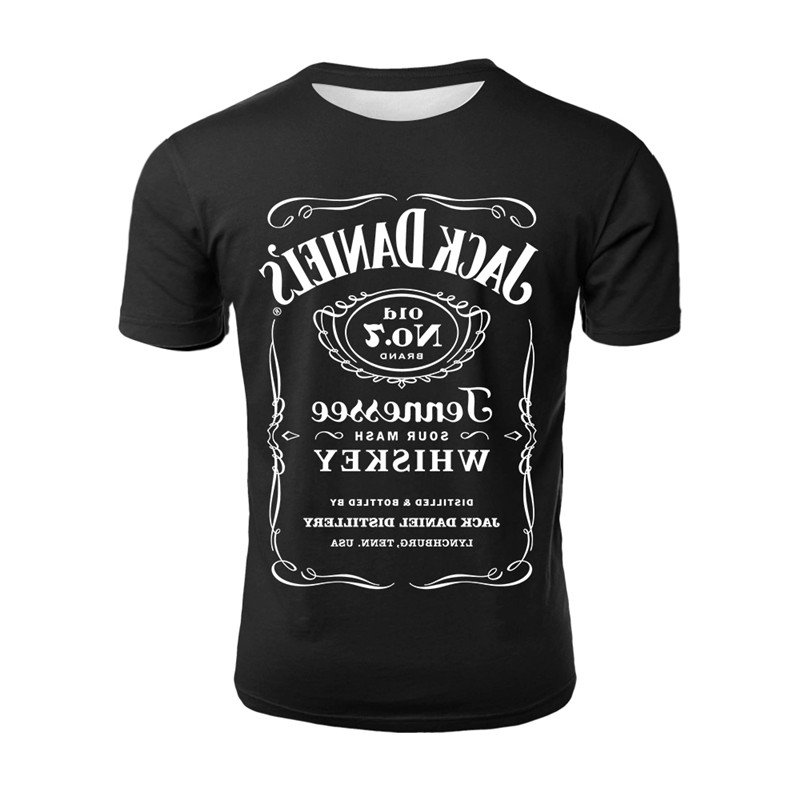 YELITE Brand 3d Printed T Shirt Men 2019 Summer Jack Daniels Casual Man's T-shirt Off White Tops Funny Tshirt Streetwear Male