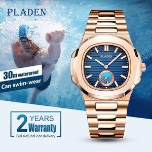 Image 2 - PLADEN benzersiz izle erkekler lüks altın erkek saatler Top marka lüks paslanmaz çelik erkek moda mavi quartz saat hediyeler erkekler için