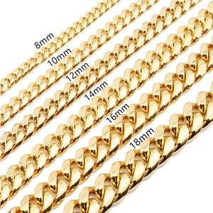Image 5 - 쿠바 링크 체인 남성 목걸이 프라이드 12mm 14mm 16mm 18mm 스테인레스 스틸 빅 롱 골드 목걸이 chunky necklace male accesories