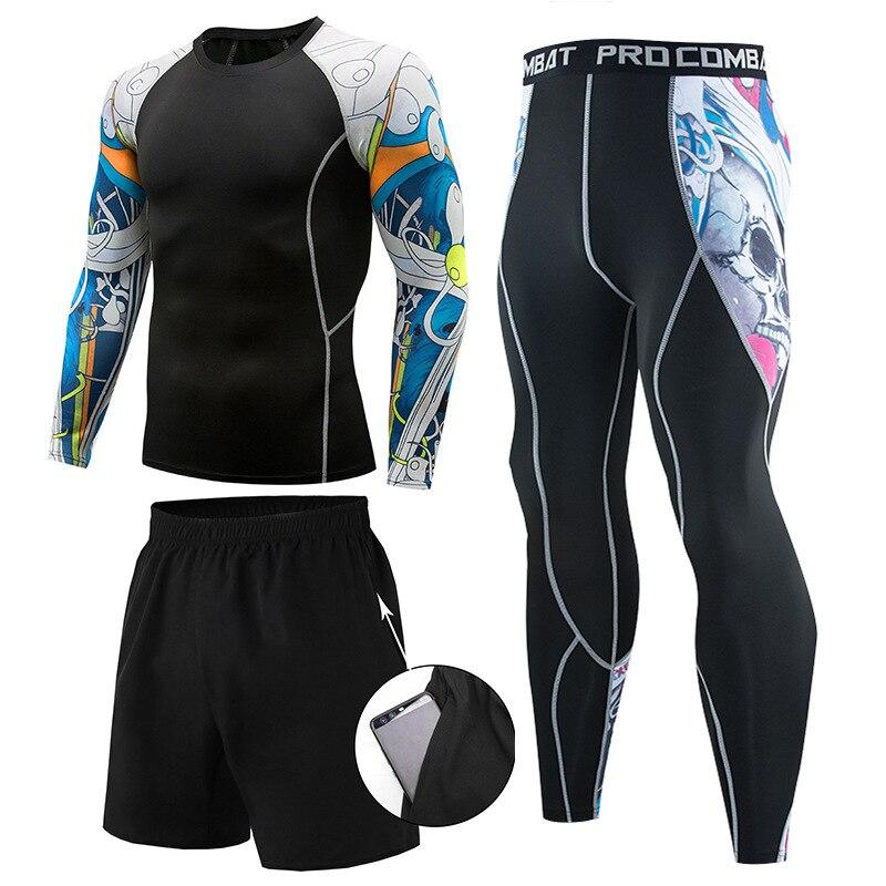 Men Sports Suit Mma Rashguard Quick Dry Sportswear Compression Clothing Fitness Muay Thai Shorts Kit Thermal Underwear Leggings