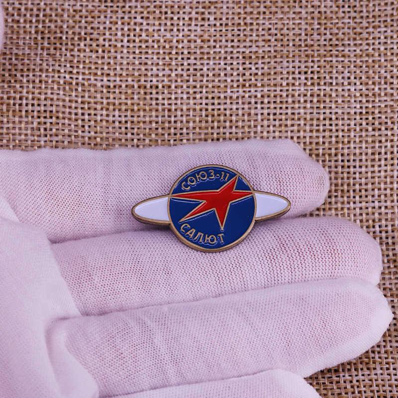 Salut Soyuz 11 Program Ruang Enamel Pin Uni Soviet Vintage Merah Bintang Bros