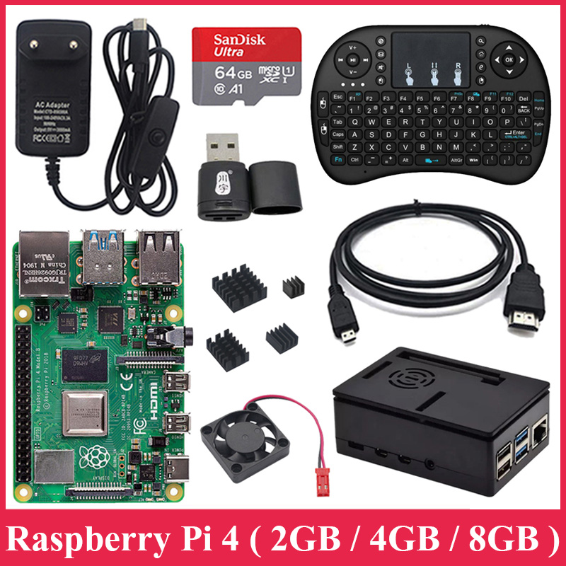 Original 2GB 4GB 8GB Raspberry Pi 4 Model B Board with ABS Case 2 4G Wireless Keyboard Power Supply Aluminum Heat Sink RPI Pi 4B
