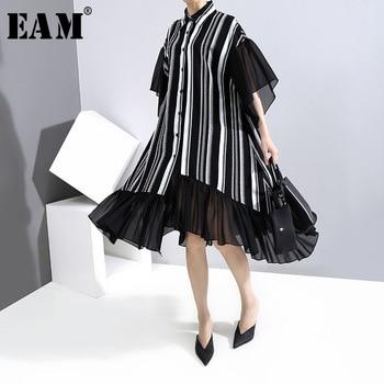 [EAM] Women Black Striped Chiffon Big Size Shirt Dress New Lapel Half Sleeve Loose Fit Fashion Tide Spring Summer 2020 1U649