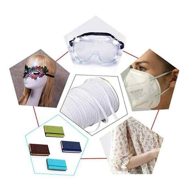 Bandas Elásticas planas blancas de 3-12mm, banda elástica de goma, cinta de Spandex, cinta de costura, banda para la cintura, accesorio para ropa 5z