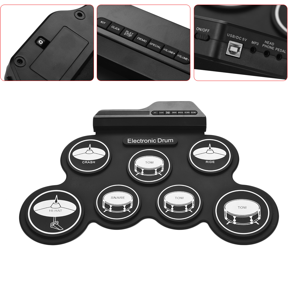 Compact Size USB Roll-Up Silicon Drum Set Digital Electronic Drum Kit 7 Drum Pads with Drumsticks Foot Pedals for Beginners-4