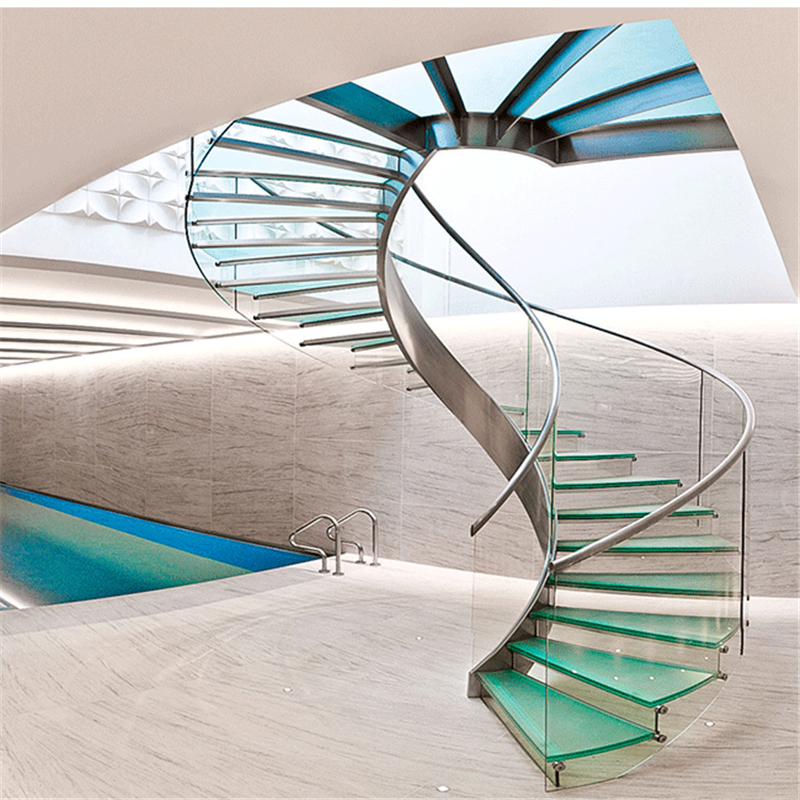 China Tempered Glass Steps Stainless Steel Spiral Glass Staircase   Stainless Steel Spiral Staircase   Custom Iron   Wooden   Indoor   Bronze   Top