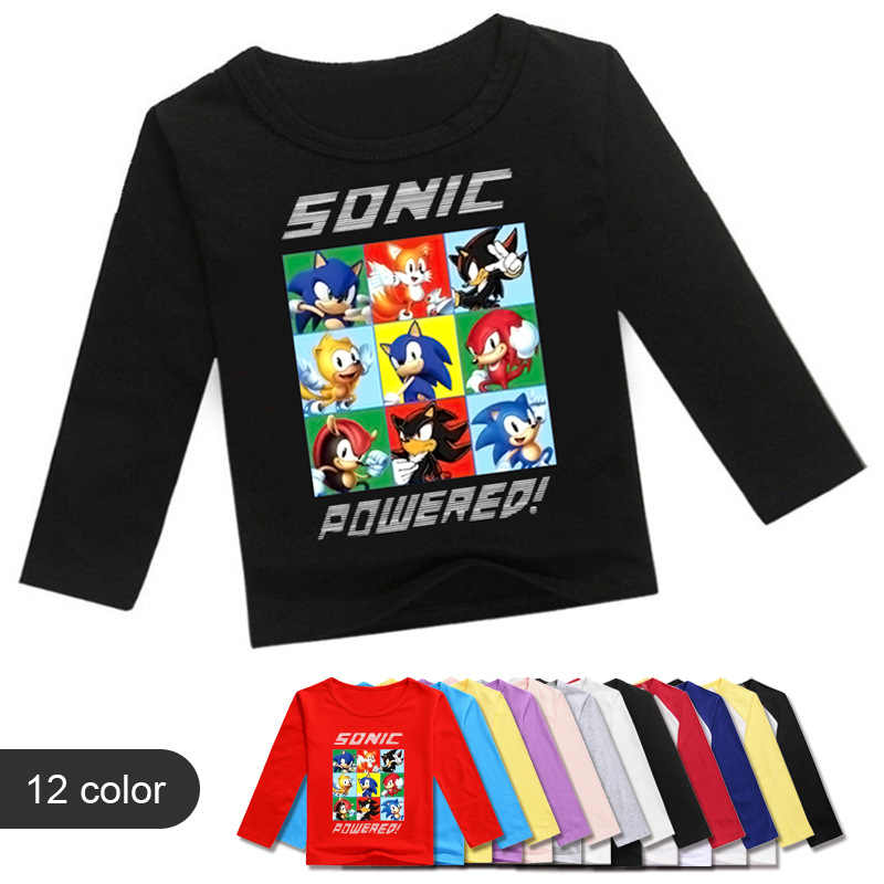 Fashion Sonic The Hedgehog T Shirt Kinderen Base Overhemd Lente Jongens Kleding Casual Cartoon Losse Meisjes Lange Mouw Tops Kinderen tees
