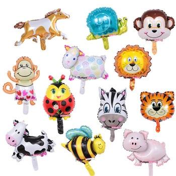 10 Uds mini globos de animales decoración de fiesta de cumpleaños León y mono y cabeza de cebra y vaca Safari zoo foil balones clásicos de juguete