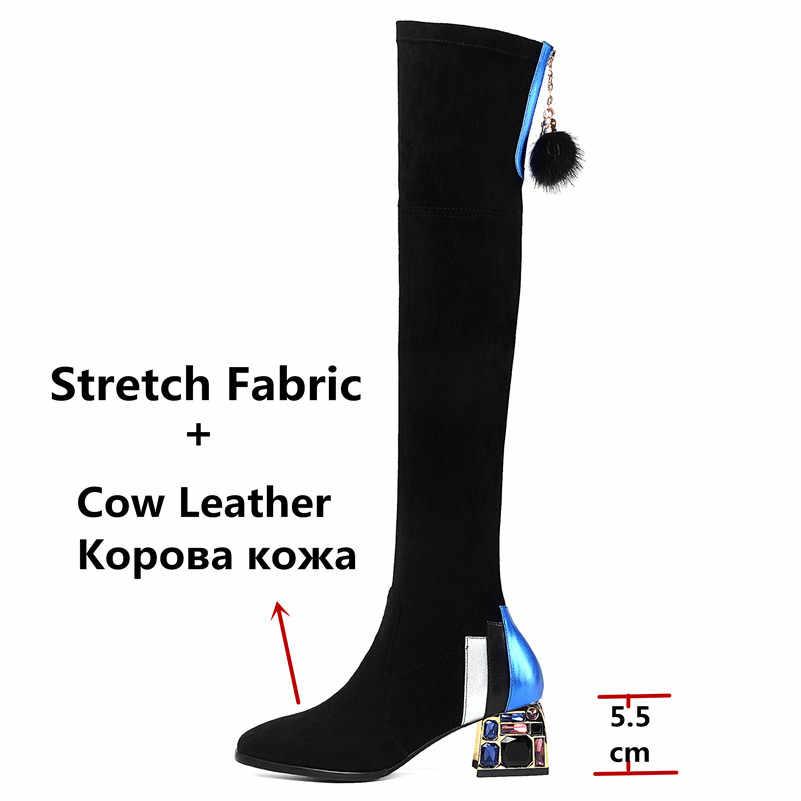 FEDONAS kadın taklidi yüksek topuklu parti balo ayakkabı kadın siyah seksi streç çizmeler kış sıcak kadınlar diz yüksek çizmeler