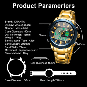 Image 5 - DUANTAI Big Dial Watch Mens Sport Watch Stainless Steel Quartz Back Light Golden Wristwatch Dual Display