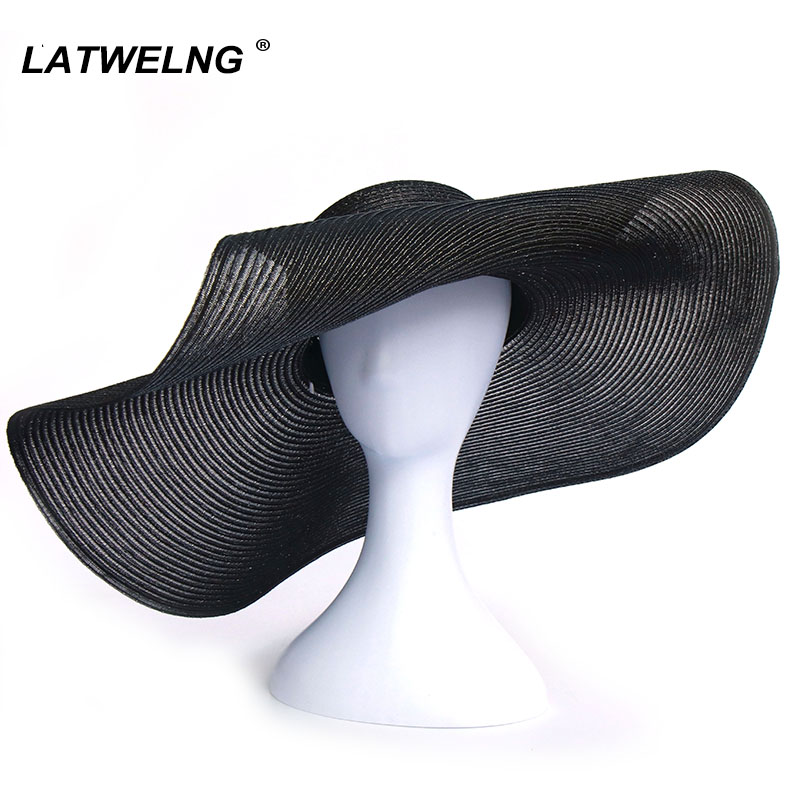 Breathable Cotton Yarn Oversized Beach Hat Vacation Elegant White Sun Hats Shade UV Hat Outdoor Summer Accessories For Beach