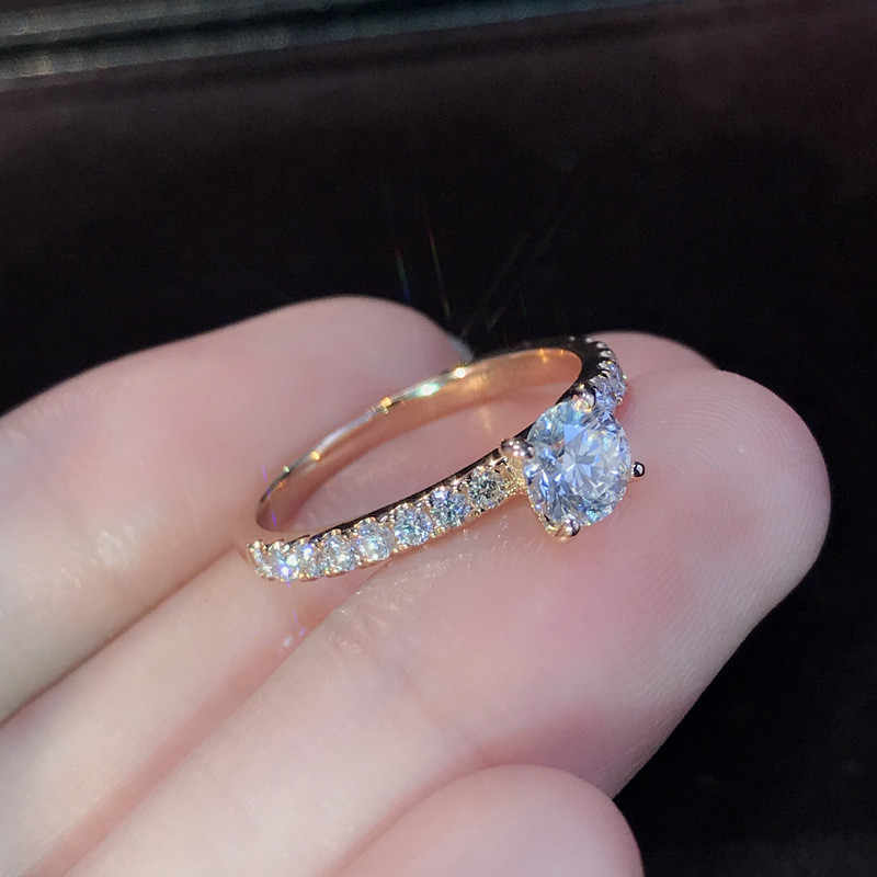 Wukalo Warna Perak Perhiasan 1.5ct AAA Zirkon Cincin Pertunangan Wanita Warna Rose Gold Crystal Cincin Pernikahan untuk Wanita