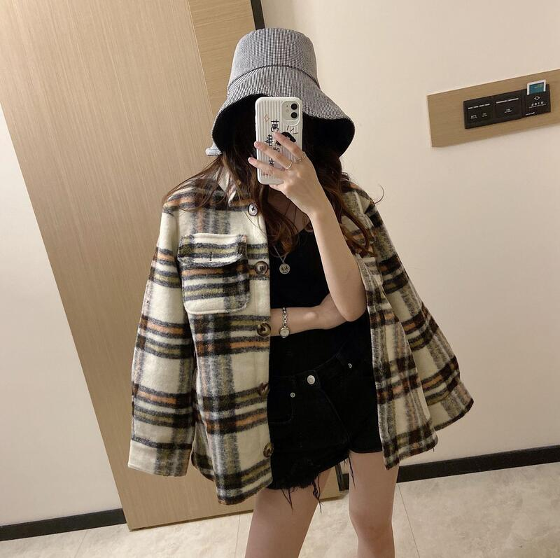 2019 British Style Pattern Shirt Wool Coat Jacket Female single Breasted Wool Coat WomenWool