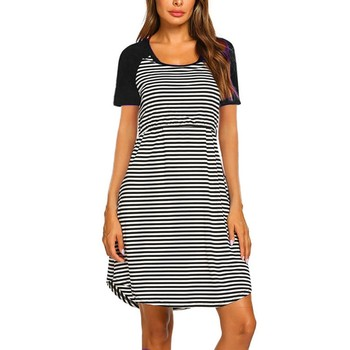 Striped Print Women's Maternity Dresses with Short Sleeve 2
