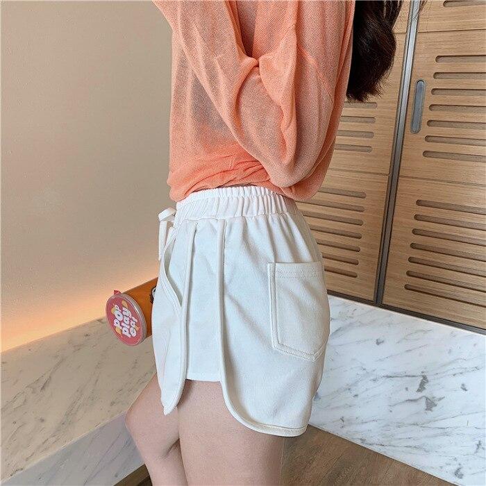 WEPBEL New Women Shorts Pocket Sports Solid Color Korean Elastic Waist Slim Summer Spring Casual Fashion High Waist