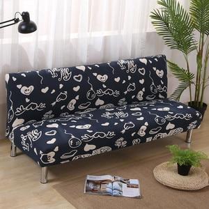 Image 1 - Funda de sofá de LICRA con estampado de corazón para sala de estar, Protector para muebles, seccionales, sin reposabrazos, color negro