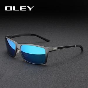 Мужские солнцезащитные очки OLEY, черные винтажные квадратные очки с поляризационными стеклами, степень защиты UV400, модель Y7160, 2019