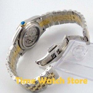 Image 5 - Парнис 36 мм Роскошные 5ATM золотого, черного или белого цвета, циферблат автоматические часы для мужчин унисекс сапфировое стекло Дата Лупа юбилейный браслет