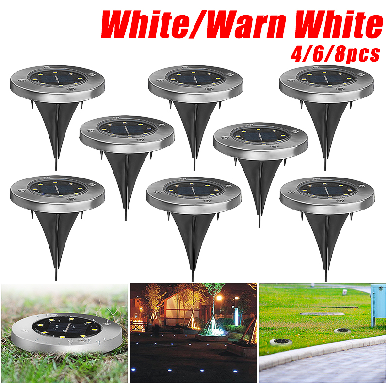 8 LED Solar Powered Ground Buried Light Lawn Yard Outdoor Garden Decking Path Way Lamps Lighting Waterproof